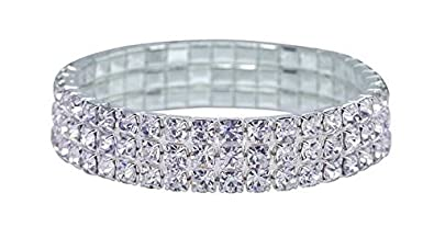 Bridal Rhinestone Stretch Bracelet 3-row Silver Tone – Ideal for Wedding, Prom, Party or Pageant