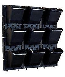 Siva Homes Vertical Garden Bio Wall Hanging Planter Black Color(3 Frame + 9 Pots) (Black)