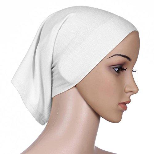 Women Head Cover Wrap Underscarf Bonnet Inner Cap Thick Lightweight Cotton Chemo (White Nursing Cap compare prices)