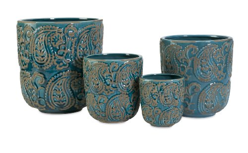 IMAX 64329-4 Paisley Planters, Blue, Set of 4 (Extra Large Planter compare prices)