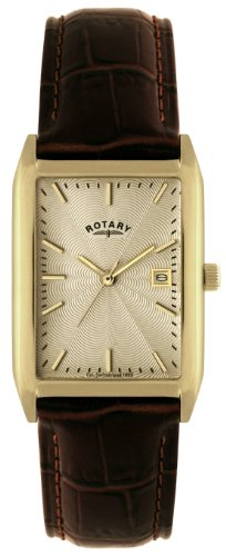 Rotary Men's Quartz Watch with Beige Dial Analogue Display and Brown Leather Strap GS02819/03