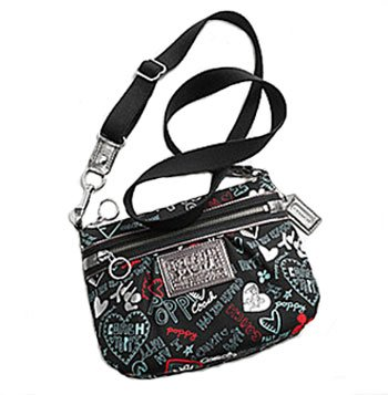 Coach 44583 Poppy Graffiti Hearts Swingpack Crossbody Messenger Bag Black