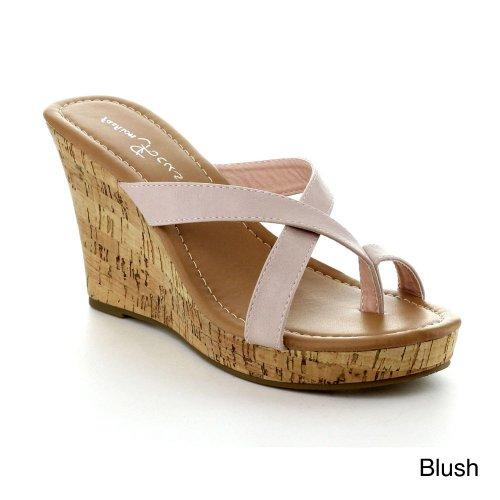 Fashion Focus Alicia-13 Women'S Slipper Wedge Sandal, Color:Blush, Size:9 front-701299