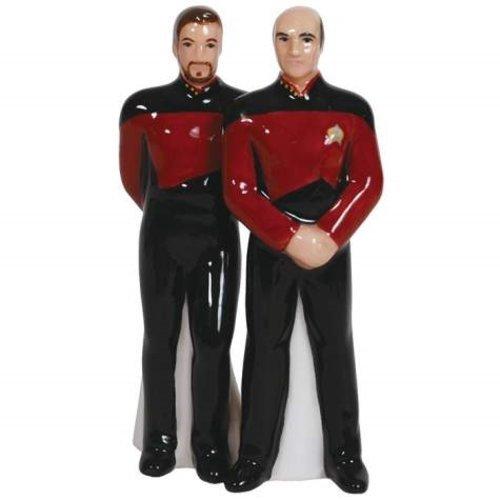 Westland Giftware Magnetic Ceramic Salt and Pepper Shaker Set, Captain Picard and Riker, Multicolor