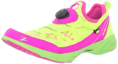 Zoot Women's Ultra Race 4.0 Running Shoe,Safety Yellow/Pink Glow/Green,9 M US