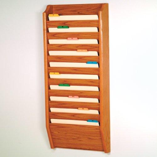 Wooden Mallet 10-Pocket File Holder, Legal Size, Medium Oak