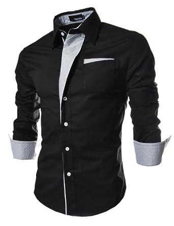 4118ca4de7 メンズ♪◎カジュアルロング スリーブ ストライプ パッチ付き フィテッド ドレス シャツ