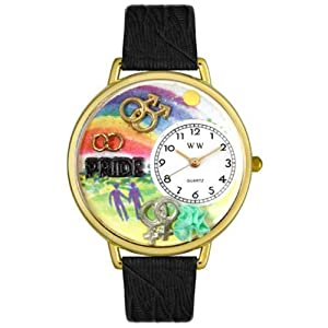 Whimsical Watches Women's G1110009 Unisex Gold Gay Pride Black Skin Leather And Goldtone Watch