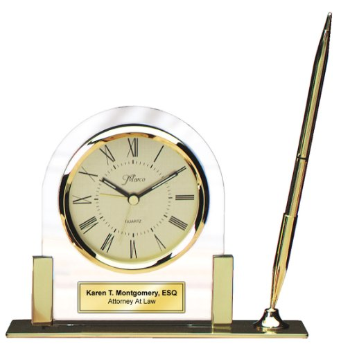 Personalized Brass Gold Base Desk Clock with Pen and Gold Engraving Plate. For Retirement Gift Anniversary Wedding Executive Employee Recognition Service Award