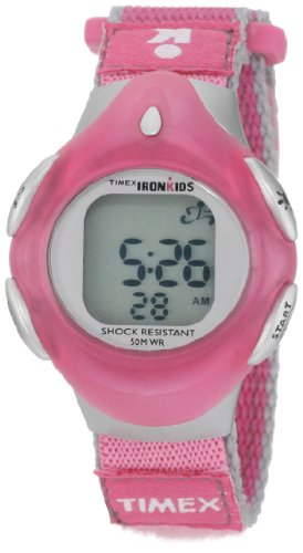 Timex Kids' T7B211 IronKids Digital Pink Fast Wrap Velcro Strap Watch