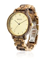 BREEF WATCHES Reloj con movimiento japonés Unisex Zebrano Classic Gold 40 mm