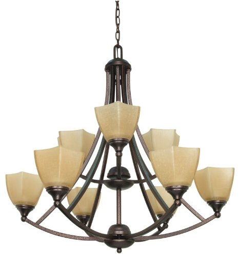 B002VB7G6C Nuvo 60/063 2 Tier 9 Light Chandelier with Champagne Glass
