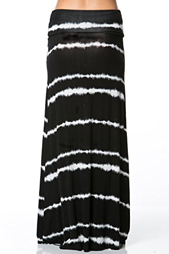 Frumos Women'S Tie Dye White Stripped Rayon Jersey A-Line Maxi Long Skirt Dress (3X-Large, Black)
