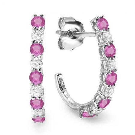 10K White Gold Round White Diamonds & Pink Sapphire Ladies Fancy J Shaped Hoop Earrings
