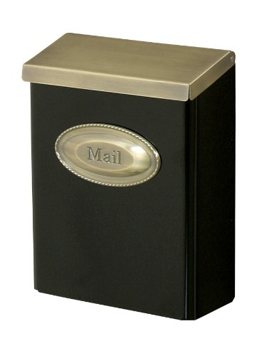Gibraltar DVKGB000 Large Vertical Style Locking Wall Mount Mailbox with Brass Lid, Black