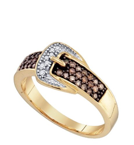 Women's White and Brown Diamond 0.28CTW 10K Yellow Gold Fashion Ring GND72465