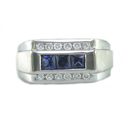 1 CT Men's Diamond Ring With Blue Sapphires In 18K White Gold SI1 Clarity