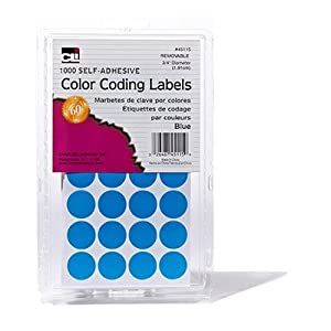 Charles Leonard Inc. Labels with Color Coding Dots, 0.75 Inch Diameter, Blue, 1000 per Box (45115)
