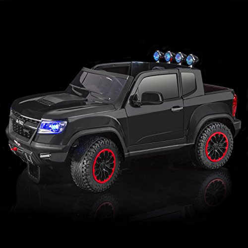 SPORTrax Chevrolet Colorado Style 4WD Kid's Ride On Car, Battery Powered, Remote Control, w/FREE MP3 Player – Black