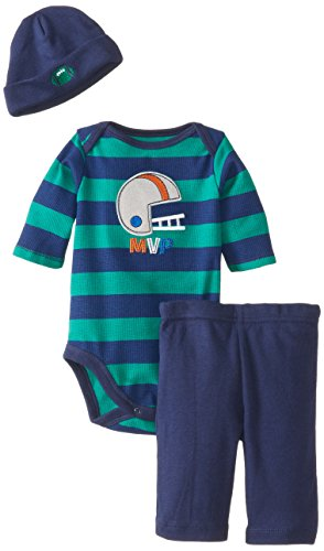 Gerber Baby-Boys Newborn 3 Piece Long Sleeve Bodysuit Pant And Cap Set, Football, 0-3 Months front-240432