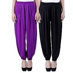 NumBrave Solid Viscose Purple & Black Harem Pants (Pack of 2)