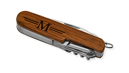 Dimension 9 Initial M or Monogram M 9-Function Multi-Purpose Tool Knife, Rosewood