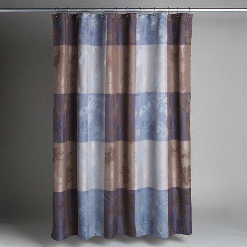 Cannon Silhouette Blue Brown Plaid Fabric Shower Curtain Bath