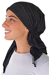 Pre Tied Fitted Bandana Head Scarf, Chemo Scarf (Black Soft Denim)