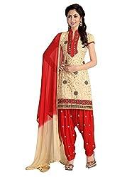 Pandadi Creation Women's Cotton Crean Color Patiyala Dress Material with Naznin Dupatta.