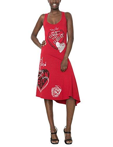 Desigual Damen A-Linie Kleid, mit Print, Rot - Rouge (Borgoña)Gr. 34 (Herstellergröße:DE XS / FR S) thumbnail