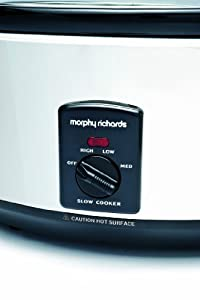 Morphy Richards 48715 Oval Slow Cooker 6.5L Total Capacity -Stainless Steel (4.5L Working Capacity)