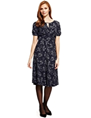Plus Ditsy Cloud Print Tea Dress