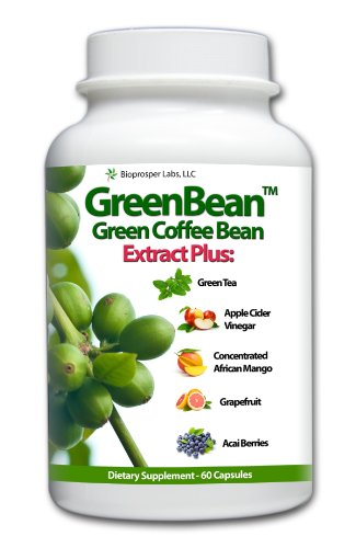 Greenbean Pure Green Coffee Bean Extract 700mg with African Mango Green Tea Apple Cider Grapefruit Kelp and Acai