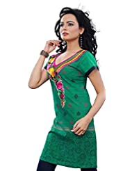 Short Sleeve Indian Kurti Blouse Womens Long Tunic Top Cotton