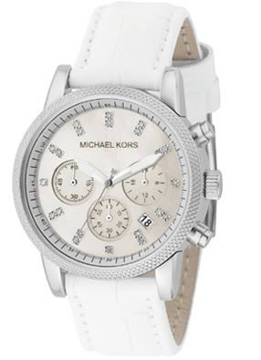 MICHAEL Michael Kors Watch, Women's Chronograph White Leather Strap MK5049