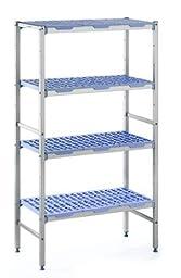 Tournus PLE0890 Commercial Anodized Aluminum Shelving Unit with Four Shelves, 19-87/128\