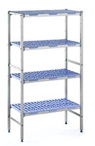 "Tournus PLE0890 Commercial Anodized Aluminum Shelving Unit with Four Shelves, 19-87/128"" Width x 69"" Height, 35-5/128"" Length"