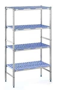 """Tournus PLE0890 Commercial Anodized Aluminum Shelving Unit with Four Shelves, 19-87/128"""" Width x 69"""" Height, 35-5/128"""" Length"""