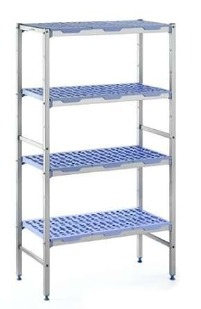 """Tournus PLE1192 Commercial Anodized Aluminum Shelving Unit with Four Shelves, 19-87/128"""" Width x 69"""" Height, 46-119/128"""" Length"""