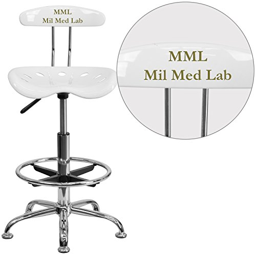 Flash Furniture Personalized Vibrant and Chrome Drafting Stool with Tractor Seat, White