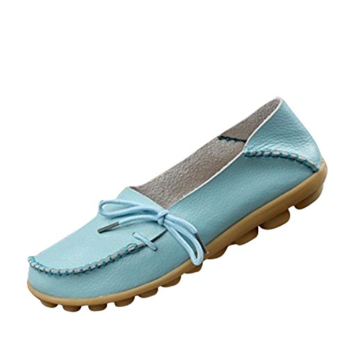 FAYALE Women's Driving Shoes Cowhide Leather Lace-Up Loafers Boat Shoes Flats (9 B(M) US, Blue1)