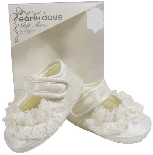 Baby Toddler Girls EARLY DAYS Cream Textile Lace Christening Shoes Size 0 1 2 3