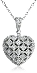 "Sterling Silver and Diamond Heart Locket Pendant Necklace (0.14 cttw, G-H Color, I2-I3 Clarity), 18"" from Delmar Mfg LLC"