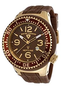 Swiss Legend Men's 21818P-YG-04-SD Neptune Brown Dial Brown Silicone Watch