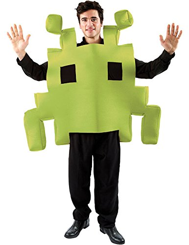 Adult Green Space Invaders Retro Gaming Costume. Easy to wear foam costume.