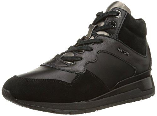 Geox - D Shahira A, Sneakers da donna, nero (c9999/vit liscio/scam), 38