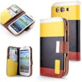 niceEshop(TM) New Flip Synthetic Leather Wallet Pouch with Lanyard Case Cover for Samsung Galaxy S3 I9300(Yellow & Black & Red)