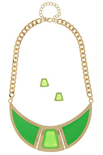 Trendy Fashion Jewelry Fashionista Neon Pop Crescent Necklace Set By Fashion Destination | (Neon Green)