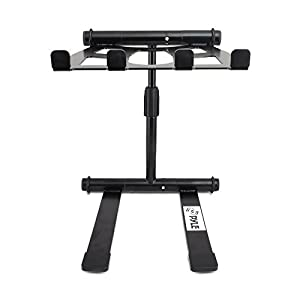 Pyle PLPTS47 Universal Device Studio Equipment Tabletop Stand Holder Mount, DJ Sound System Workstation and Two-Tier Shelves