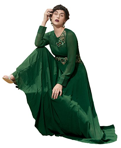 Heart & Soul Designer Wedding & Party Wear Fully Stitched Embroidery Designer Salwar Suits Dupatta L size for women(Green)